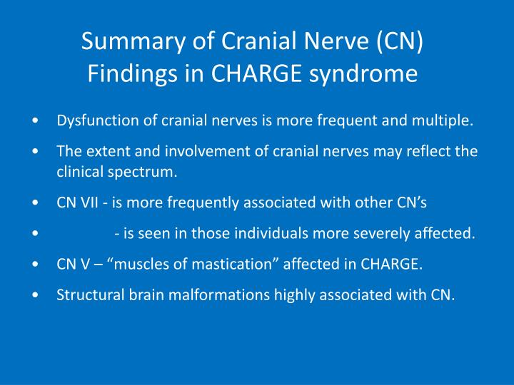 Summary of Cranial Nerve (CN) Findings in CHARGE syndrome