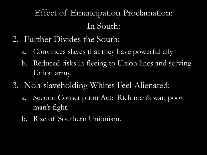 Effect of Emancipation Proclamation: