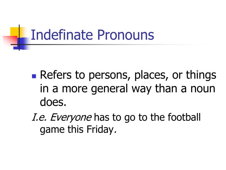 Indefinate Pronouns