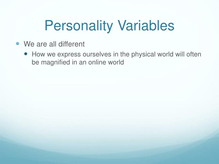 Personality Variables