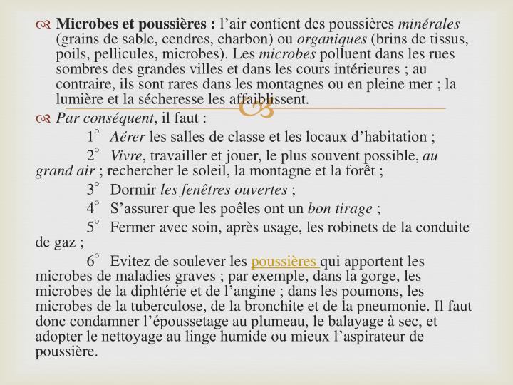 Microbes et poussières :