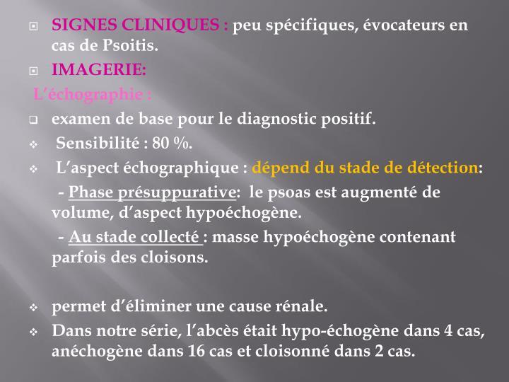 SIGNES CLINIQUES :