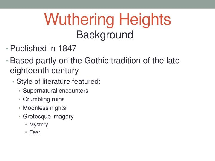 wuthering heights writing style A detailed discussion of the writing styles running throughout wuthering heights wuthering heights including including point of view, structure, setting, language.