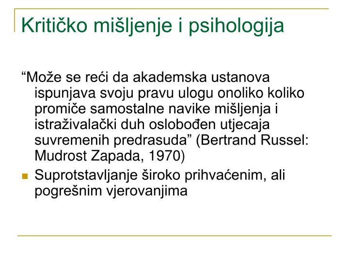 Kritičko mišljenje i psihologija