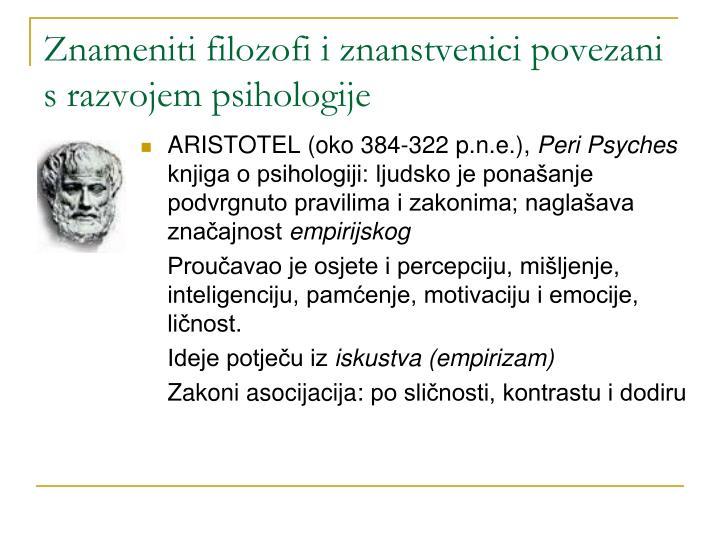 Znameniti filozofi i znanstvenici povezani s razvojem psihologije