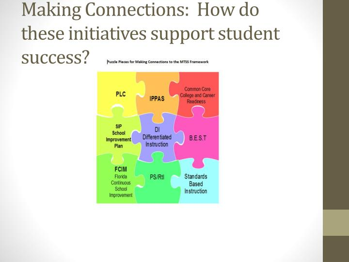 Making Connections:  How do these initiatives support student success?