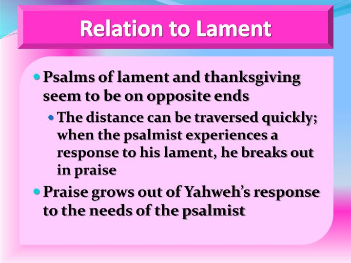 Relation to Lament