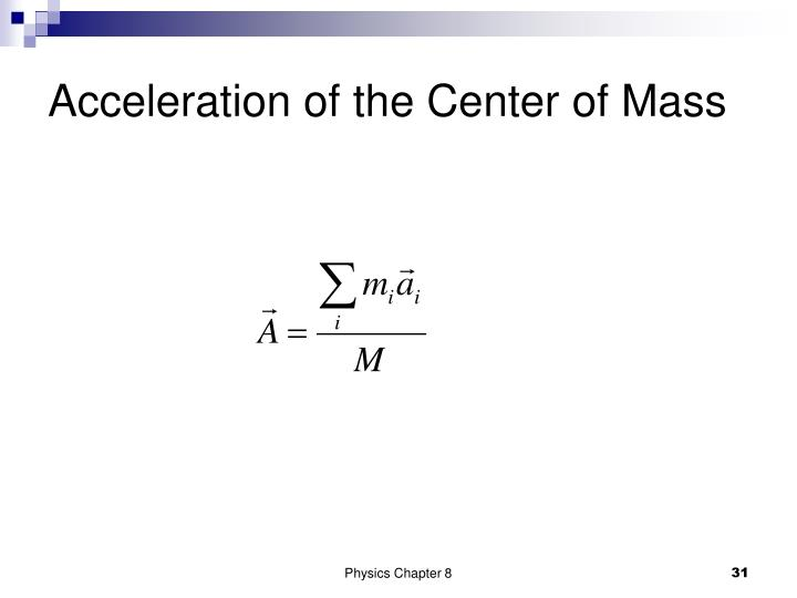 Acceleration of the Center of Mass
