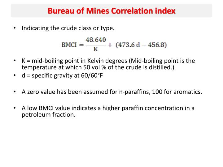 Bureau of Mines Correlation