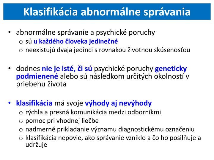 Klasifikácia abnormálne správania