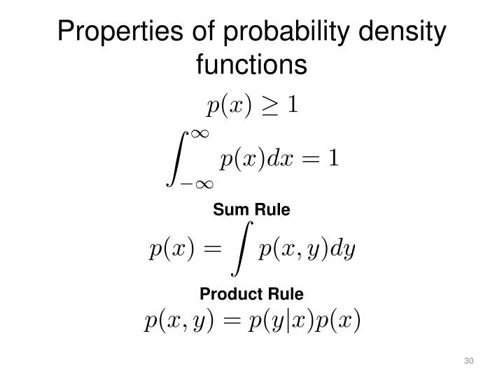 Properties of probability density functions