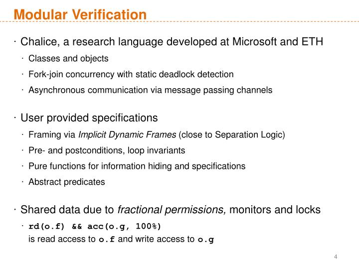 Modular Verification
