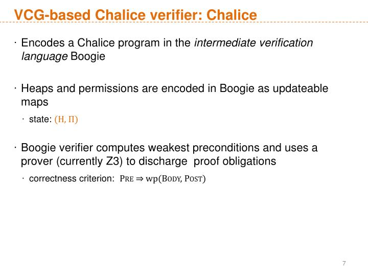 VCG-based Chalice verifier: Chalice