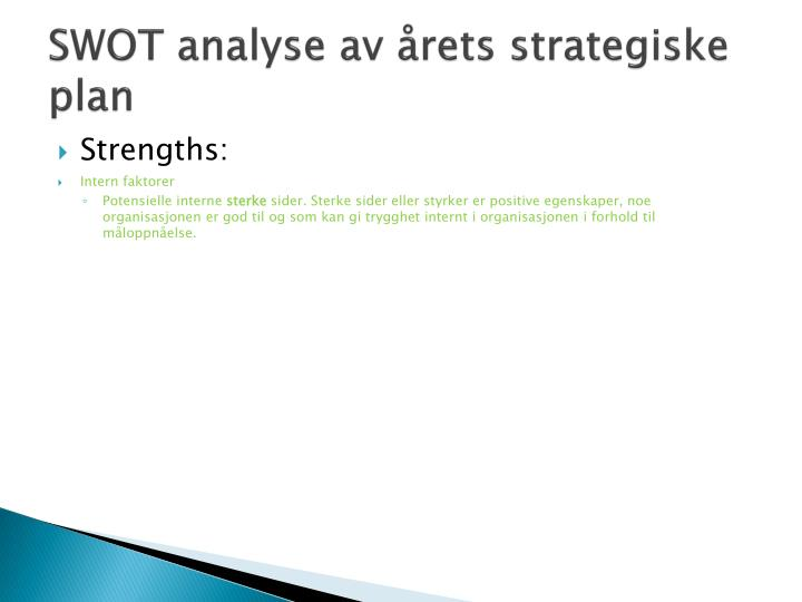 SWOT analyse av årets strategiske plan