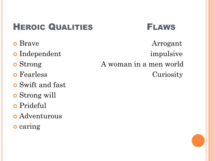 Heroic Qualities                  Flaws