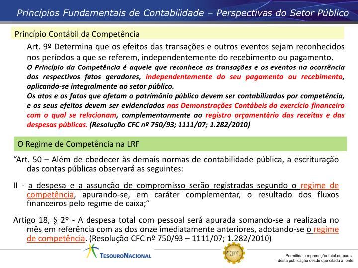 Princípios Fundamentais de Contabilidade – Perspectivas do Setor Público