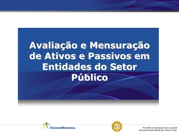 Avaliação e Mensuração de Ativos e Passivos em Entidades do Setor Público