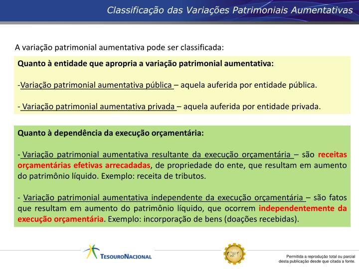 Classificação das Variações Patrimoniais Aumentativas