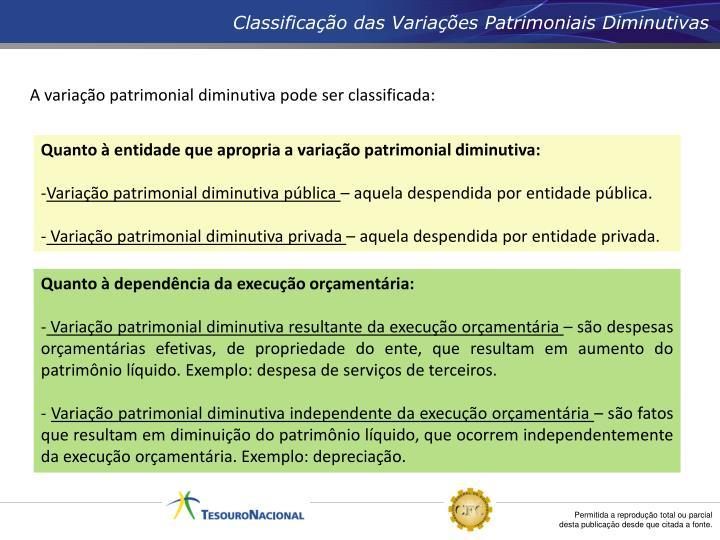 Classificação das Variações Patrimoniais Diminutivas