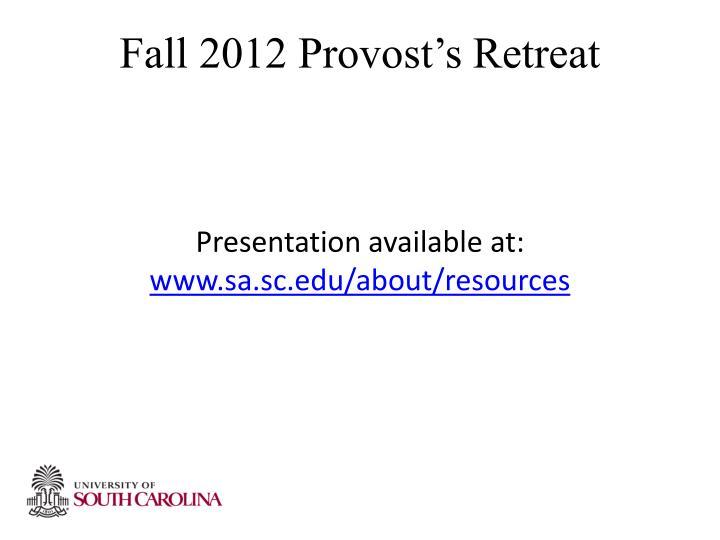 Fall 2012 Provost's Retreat
