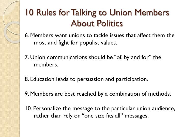 10 Rules for Talking to Union Members About Politics