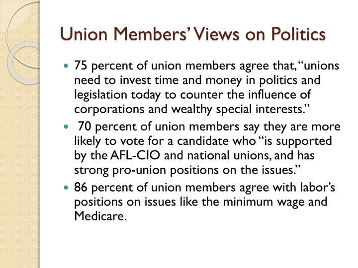 Union Members' Views on Politics