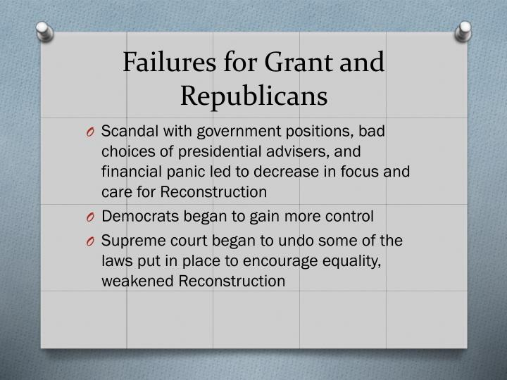 Failures for Grant and Republicans