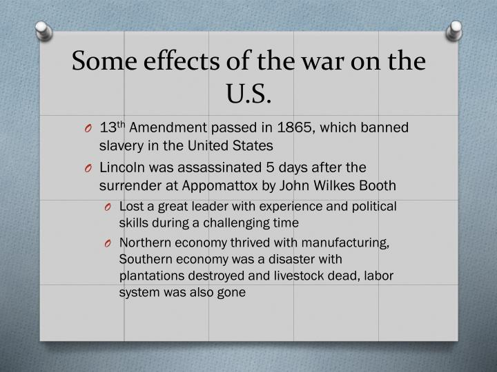 Some effects of the war on the U.S.