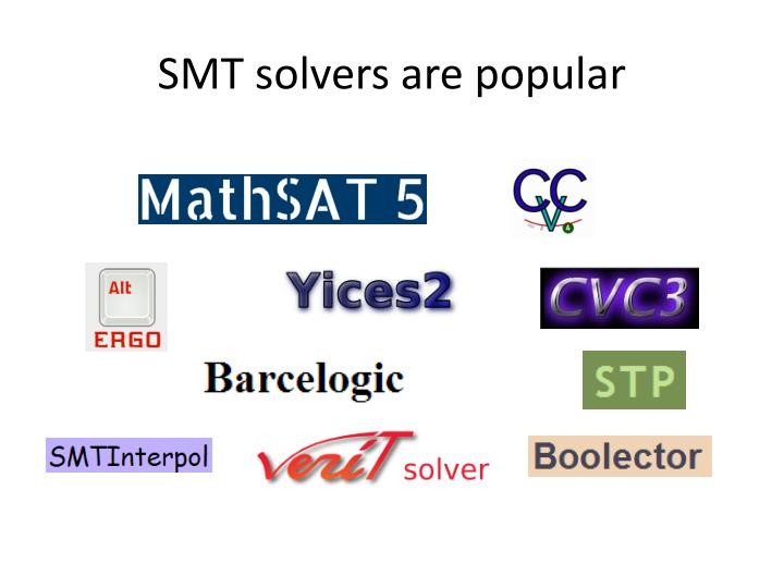 SMT solvers are popular