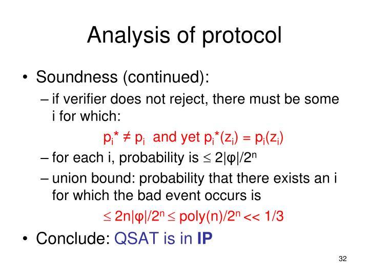Analysis of protocol