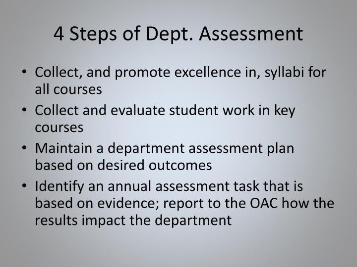 4 Steps of Dept. Assessment