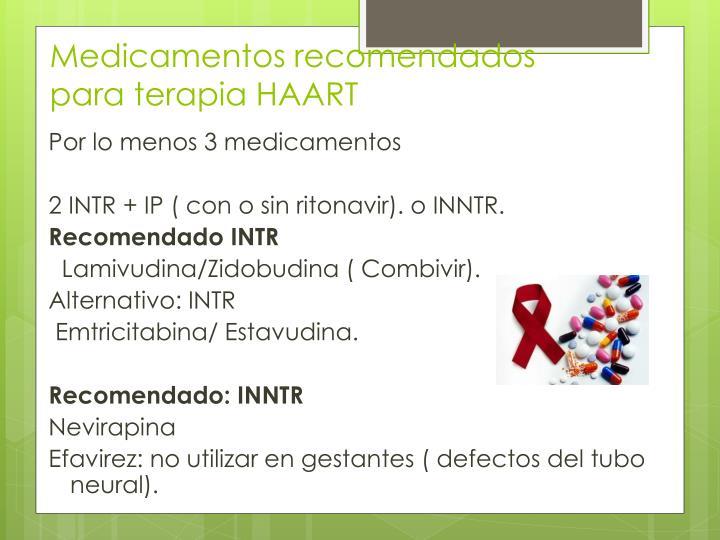 Medicamentos recomendados para terapia HAART