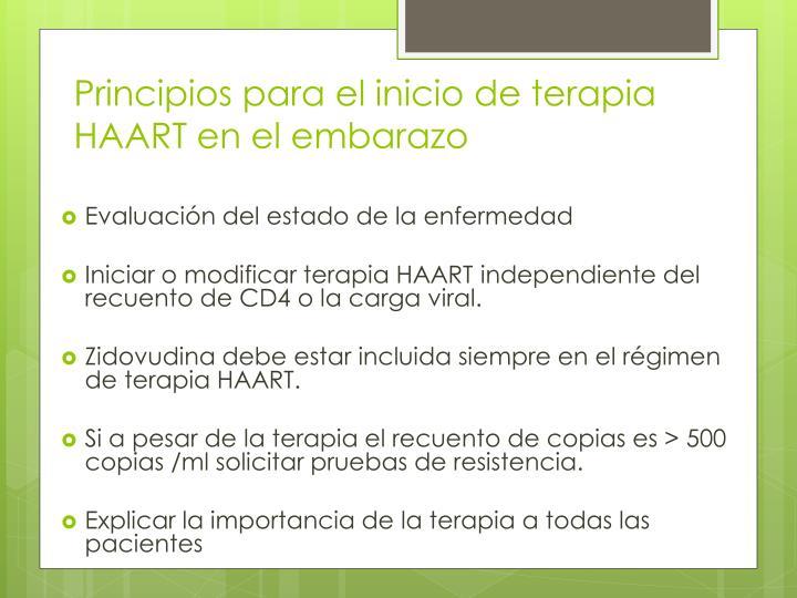 Principios para el inicio de terapia HAART en el embarazo