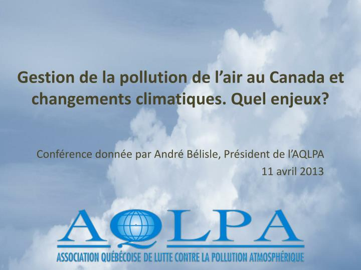 Gestion de la pollution de l'air au Canada et
