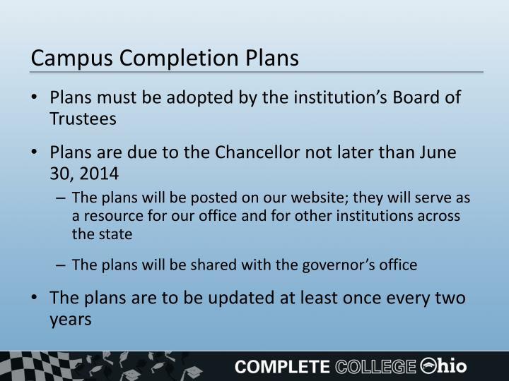 Campus Completion Plans
