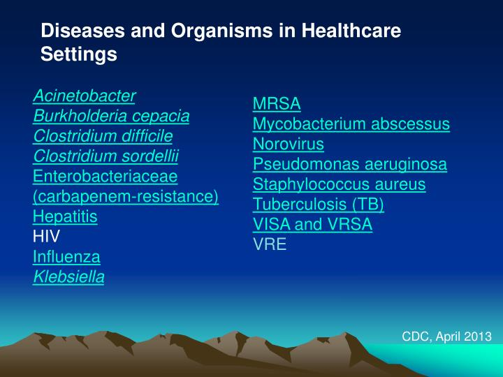 Diseases and Organisms in Healthcare Settings