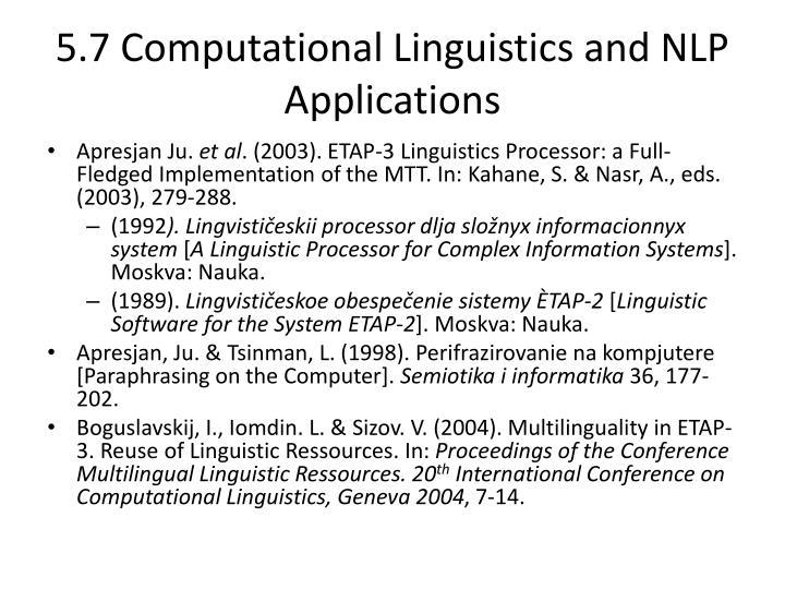 5.7 Computational Linguistics and NLP