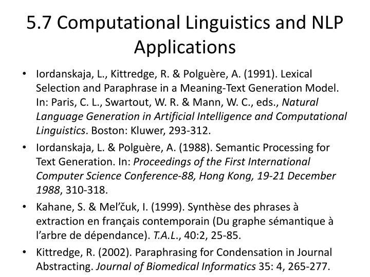 5.7 Computational Linguistics and NLP Applications