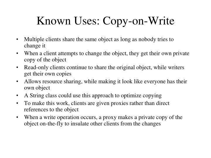 Known Uses: Copy-on-Write