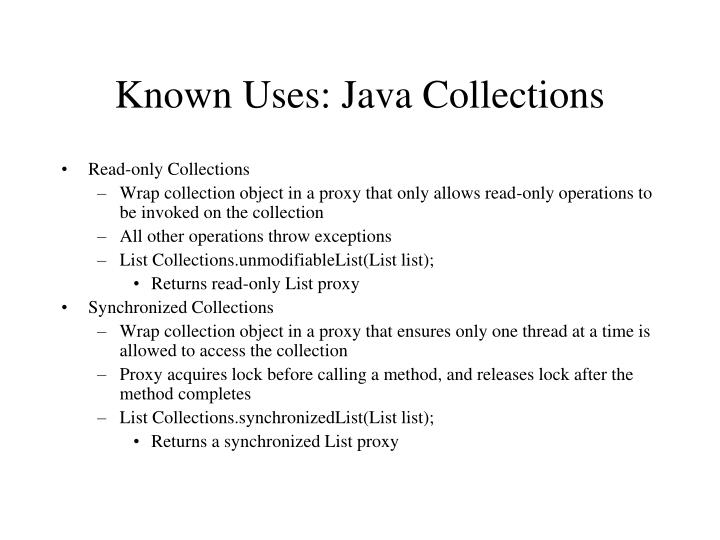 Known Uses: Java Collections