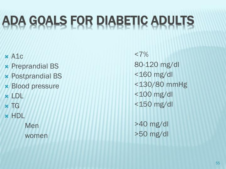 ADA goals for diabetic adults