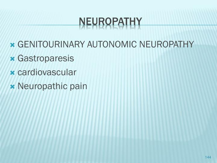 GENITOURINARY AUTONOMIC NEUROPATHY