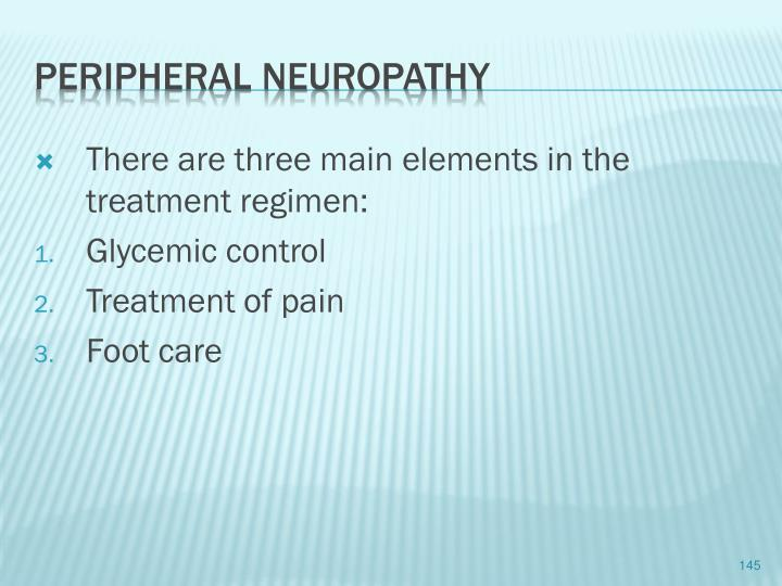 There are three main elements in the treatment regimen: