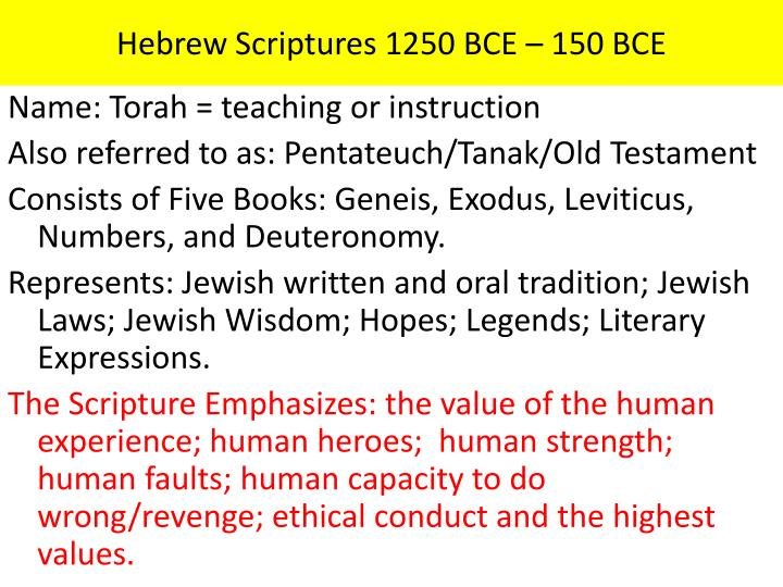 Hebrew Scriptures 1250 BCE – 150
