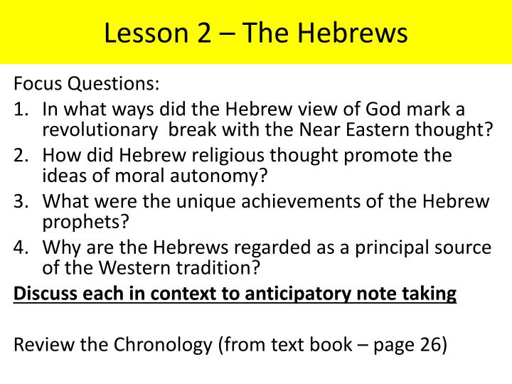 Lesson 2 the hebrews