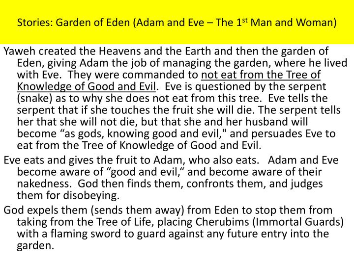 Stories: Garden of Eden (Adam and Eve – The 1