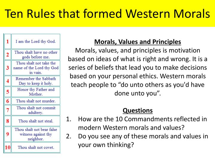 Ten Rules that formed Western Morals
