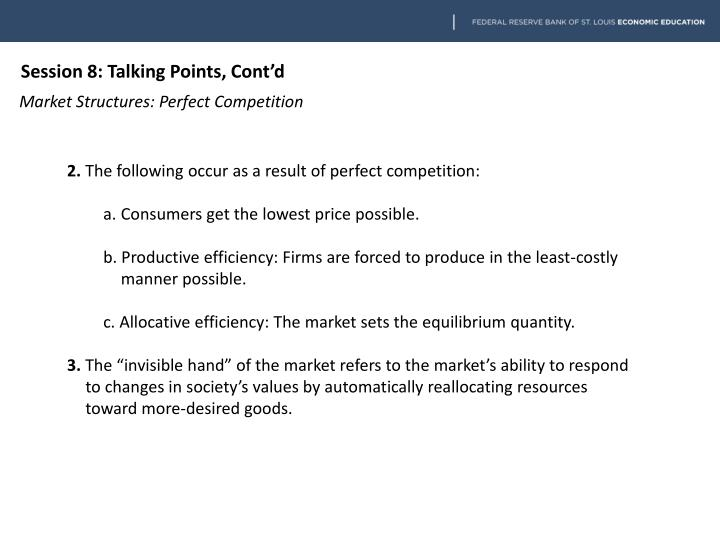 Session 8: Talking Points, Cont'd
