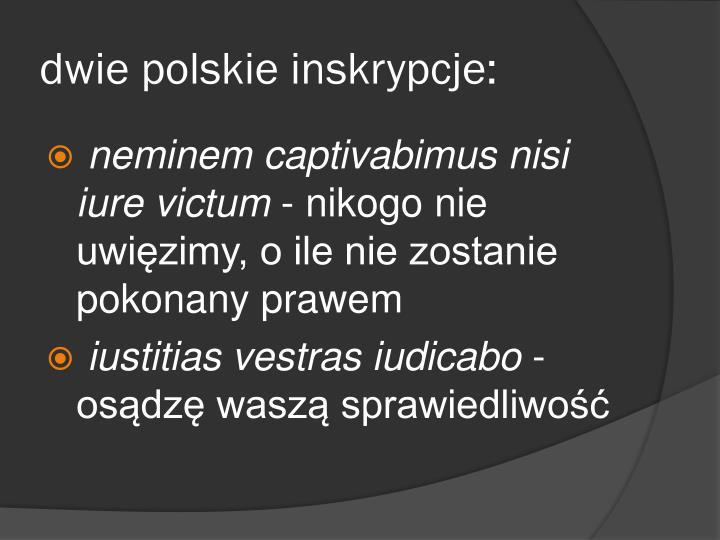 dwie polskie inskrypcje: