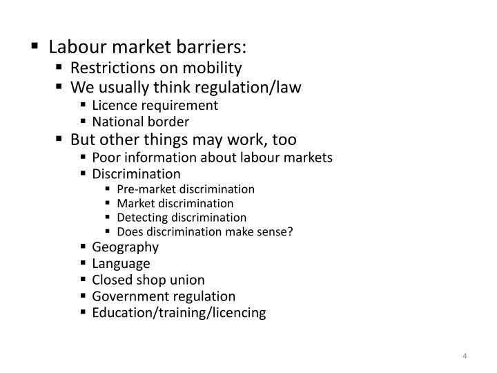Labour market barriers: